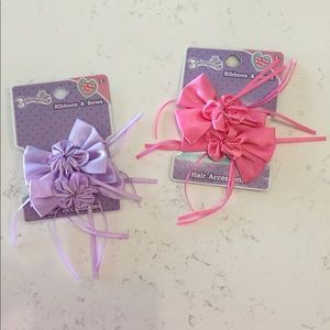 🎀🎀NWT Set of 4, pink and purple girls hair bows!